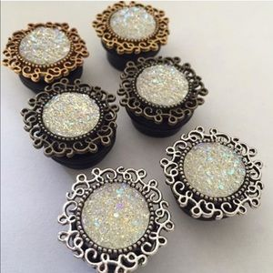 3 Pairs Wedding Elegant Plugs Gauges NEW
